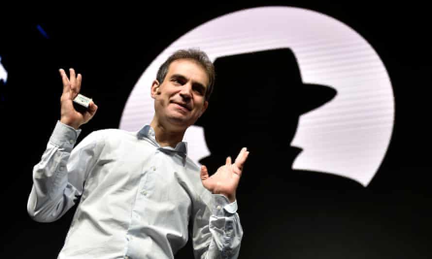 Dan Kaminsky speaks during his keynote address at the Black Hat cyber security conference in Las Vegas: 'We need to go ahead and get the internet fixed or risk losing this engine of beauty.'