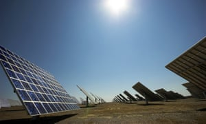 The world's largest solar power plant at Moura, Portugal.