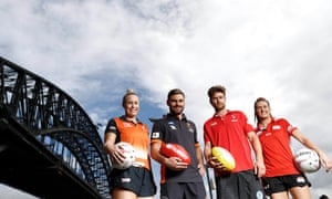 Kim Green of the Giants Netball , Stephen Coniglio of the GWS Giants, Dane Rampe of the Sydney Swans, and Maddy Proud of NSW Swifts