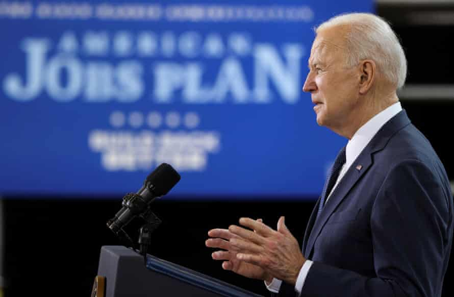 Joe Biden speaks about his $2tn infrastructure plan at Carpenters Pittsburgh Training Center in Pittsburgh, Pennsylvania, on Wednesday.