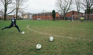 Michael Flynn practises free-kicks near where he grew up.