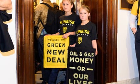 The Sunrise Movement organized a protest to pressure Senator Mitch McConnell to support the Green New Deal on 25 February in Washington DC.
