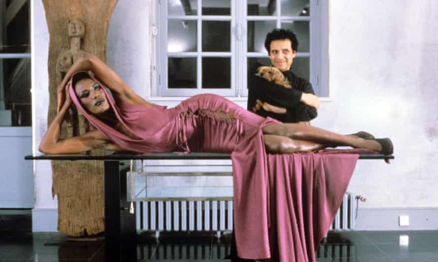 Azzedine Alaïa with Grace Jones in one his creations.