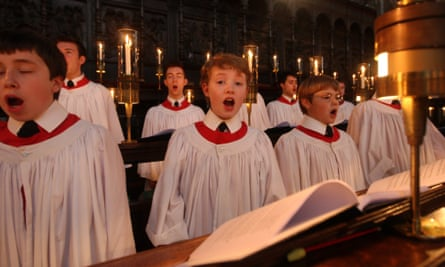 Choirboys rehearsing for the Christmas eve carol service at King's College Chapel, Cambridge