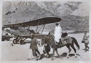 An Aeroflot biplane in Khorugh, a city in the Pamir mountains of Tajikistan, 1930s