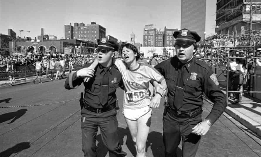 Finished: Rosie Ruiz is helped by Boston police after winning the women's division of the Boston Marathon in 1980 in a new record time. A few days later it was shown that she had only run the last mile or so of the course and was disqualified.