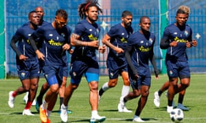 Panama's players in Saransk preparing to face England.