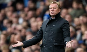 Ronald Koeman shows his frustration during Everton's 1-0 home defeat by Burnley at Goodison Park on Sunday.