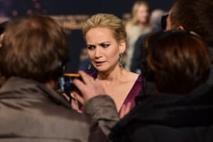 Jennifer Lawrence takes questions from the waiting press