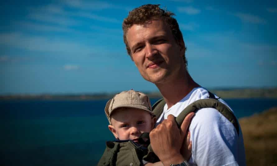 Esben Thorup and son in Jutland