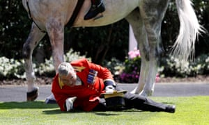 A faller at Royal Ascot! A member of the royal procession came off his horse in the paddock today.