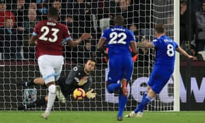 West Ham United goalkeeper Lukasz Fabianski makes a save from a penalty taken by Cardiff City's Joe Ralls.