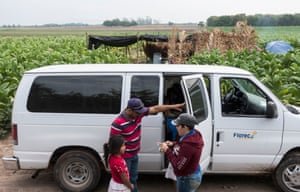 The driver of the Florece bus picks up the kids of the tobacco laborers.