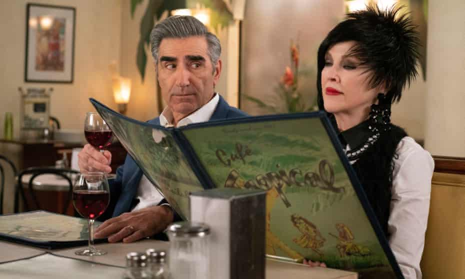Eugene Levy as Johnny and Catherine O'Hara as Moira Rose in Schitt's Creek.