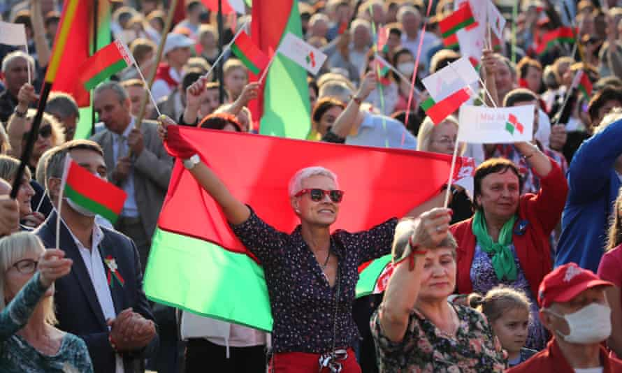 Supporters of President Alexander Lukashenko at a rally in Minsk.