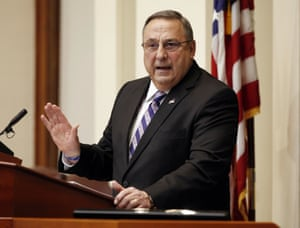 Paul LePage delivers his State of the State address to the Legislature at the Statehouse in Augusta, Maine.