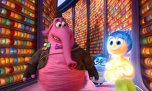 Bing Bong, voiced by Kind, with Sadness (Phyllis Smith) and Joy (Amy Poehler) in Inside Out.