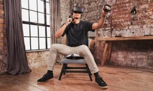 A VR gamer using the VRGO Mini.