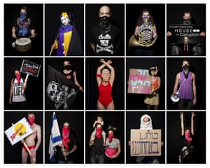 A series of demonstrators' portraits taken during a protest against Israel's Prime Minister Benjamin Netanyahu.