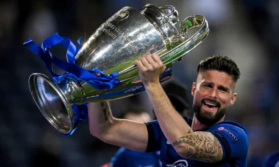 Olivier Giroud lifts the European Cup on what appears likely to have been his final night in a Chelsea squad.