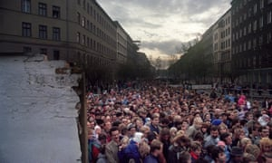 Thousands of East Berliners at one of the new openings in the Wall, Eberswalder Strasse, 11 November 1989.