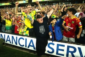 Norwich City fans celebrate victory over Champions Manchester City.