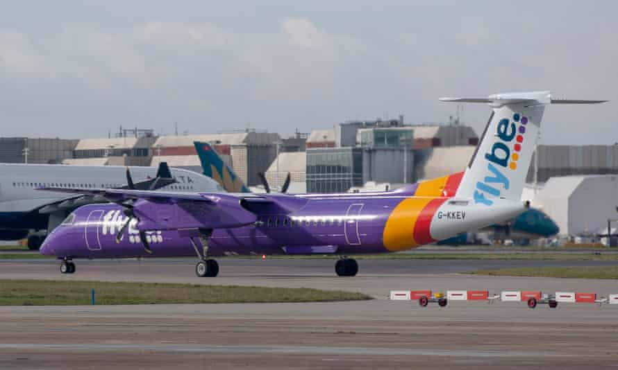 Flybe Bombardier Dash 8 Q400 plane at Heathrow airport