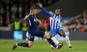 Brighton's Jose Izquierdo attempts to get the better of Tottenham's Toby Alderweireld.