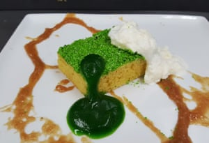 Created by Ben Churchill, the washing-up sponge is olive-oil sponge, mint sponge, milk foam – with toffee apple syrup standing in for washing-up liquid.