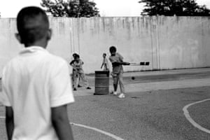 Pakistani American children playing cricket in the park, Brooklyn, 2011