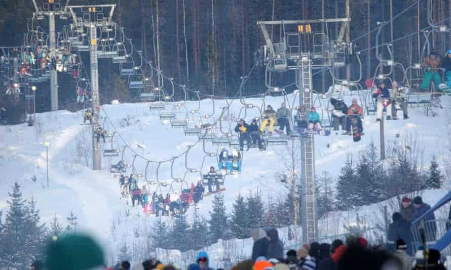 People at the ski resort of Igora, outside St Petersburg