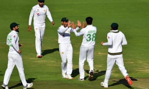 Mohammad Abbas celebrates after taking the wicket of Dom Sibley.