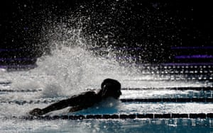 Chad le Clos of South Africa and the Energy Standard team on his way to winning the mens 200m butterfly.