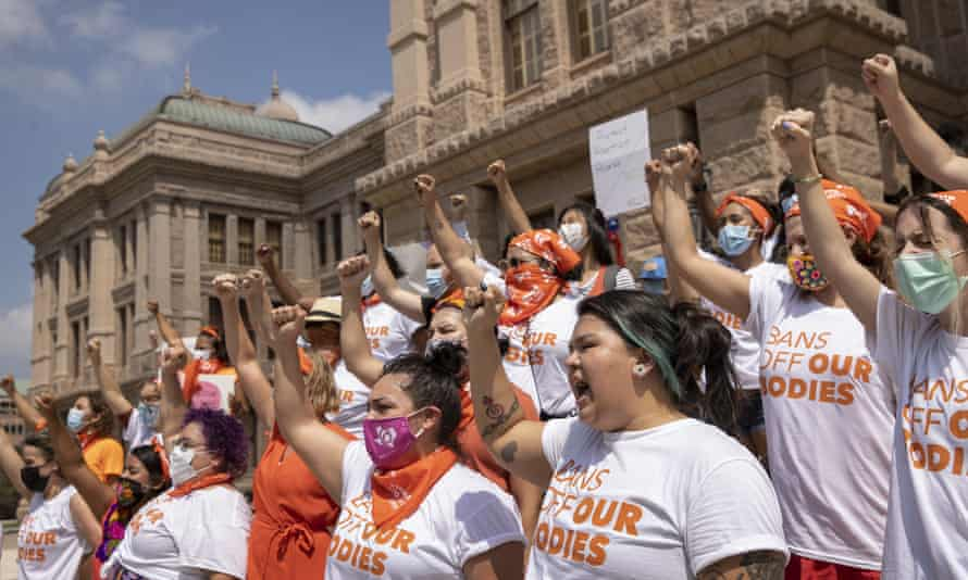 Women protest against the six-week abortion ban at the Texas capitol, in Austin, Texas.