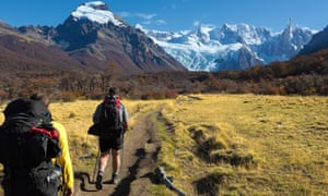 Hikers in Torres del Paine national park, Chile.