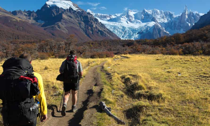 Tourists hiking in Torres del Paine national park, Chile