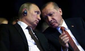 Turkish President Recep Tayyip Erdogan with his Russian counterpart Vladimir Putin
