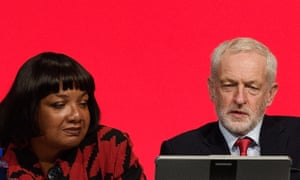 Red sky thinking: the shadow home secretary, Diane Abbott, with the Labour party leader, Jeremy Corbyn.