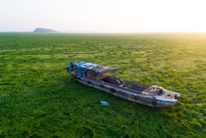 Boat stranded on grass in Jiangxi province, China