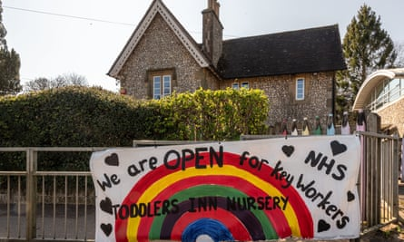 A nursery school in East Sussex is open for the children of key workers.