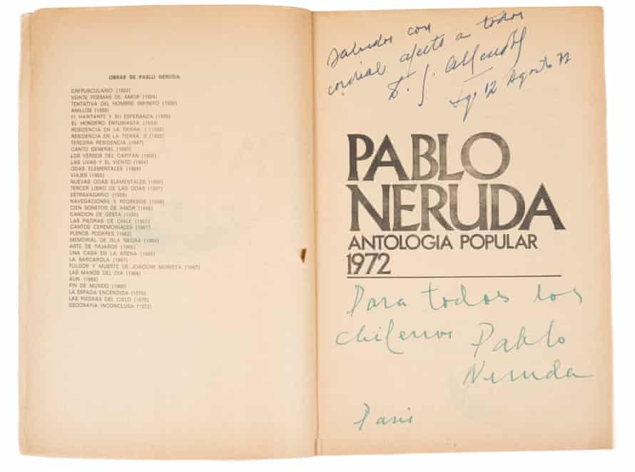 A 1972 anthology Neruda dedicated to his friend Salvador Allende.