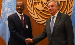 Eritrea's minister for foreign affairs, Osman Saleh Mohammed (left), meets UN secretary general António Guterres at the UN in New York.