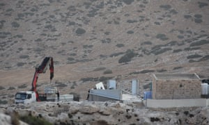 Prefabricated classrooms, funded by EU aid in Ibziq, in the northern West Bank, were dismantled and confiscated by Israeli authorities.