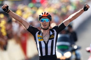 MTN Qhubeka's British rider Stephen Cummings celebrates as he crosses the finish line. Cummings becomes the 12th British rider to win at stage at the Tour de France