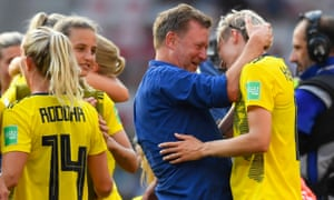 Peter Gerhardsson celebrates with Lina Hurtig after Sweden beat England to take third place at the 2019 Women's World Cup.