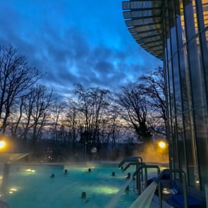 The 33C outdoor pool at Les Thermes de Spa, on a winter's evening.
