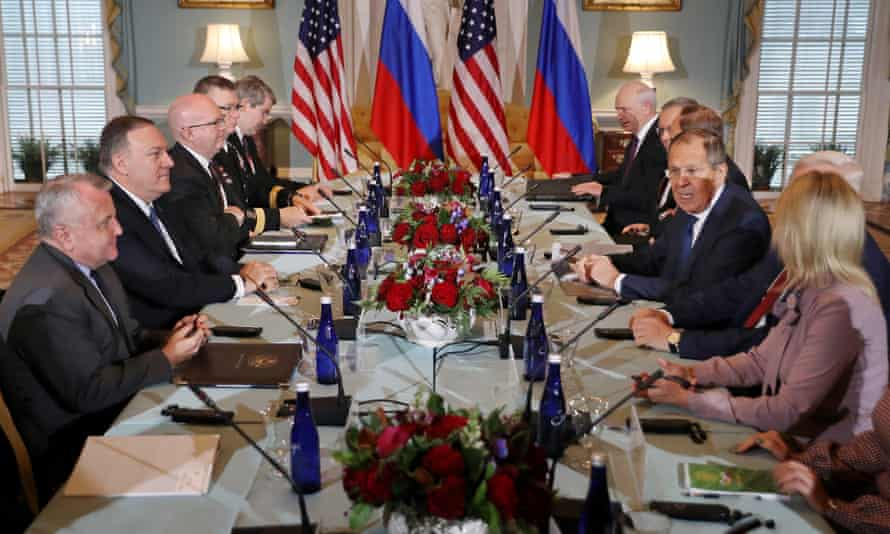 Mike Pompeo and Sergei Lavrov sit down for a meeting in the Jefferson Room at the state department on 10 December 2019 in Washington DC.