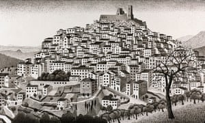 An escher sketch of a hillside covered in dwellings and a palace at the top