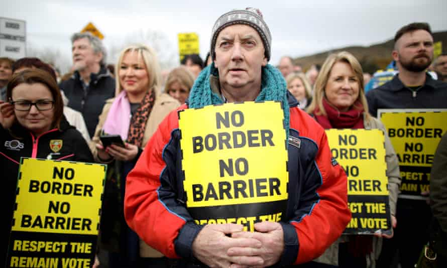 Protesters against a border between Ireland and Northern Ireland at the Carrickcarnan border between Newry in Norther Ireland and Dundalk in the Irish Republic.