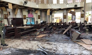 Two bombs hit the church in Sulu in January. The first blast occurred inside the church as mass was being celebrated, and was followed by a second explosion in the parking lot as troops responded.